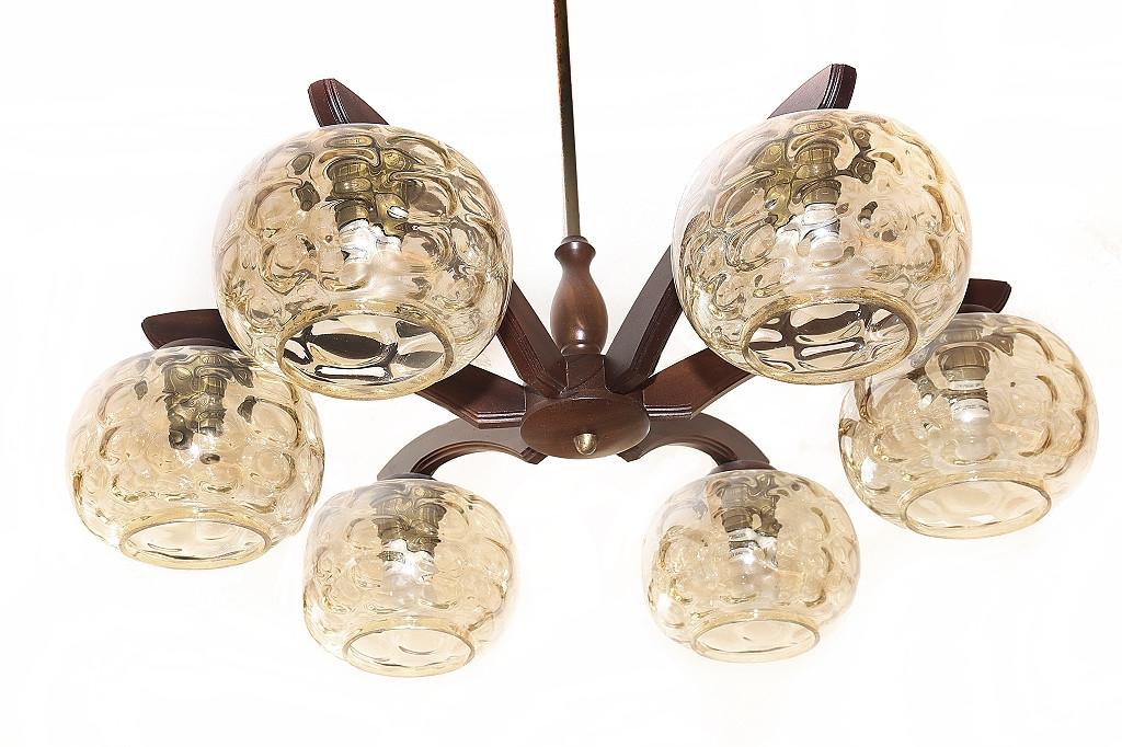 6-armige Deckenlampe Deckenleuchte | Massiv Holz | runde Gläser
