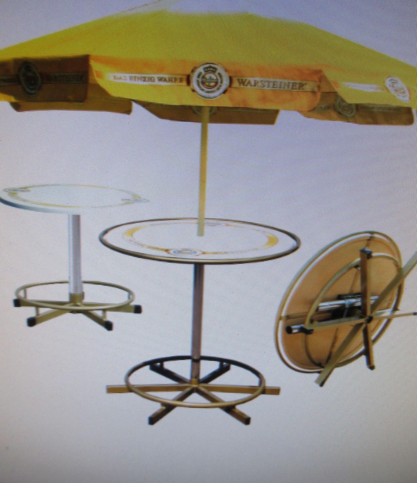 Original PrakTisch Stehtisch/Bistro/Sitztisch mit Warsteiner Sonnenschirm, versch. Höhen